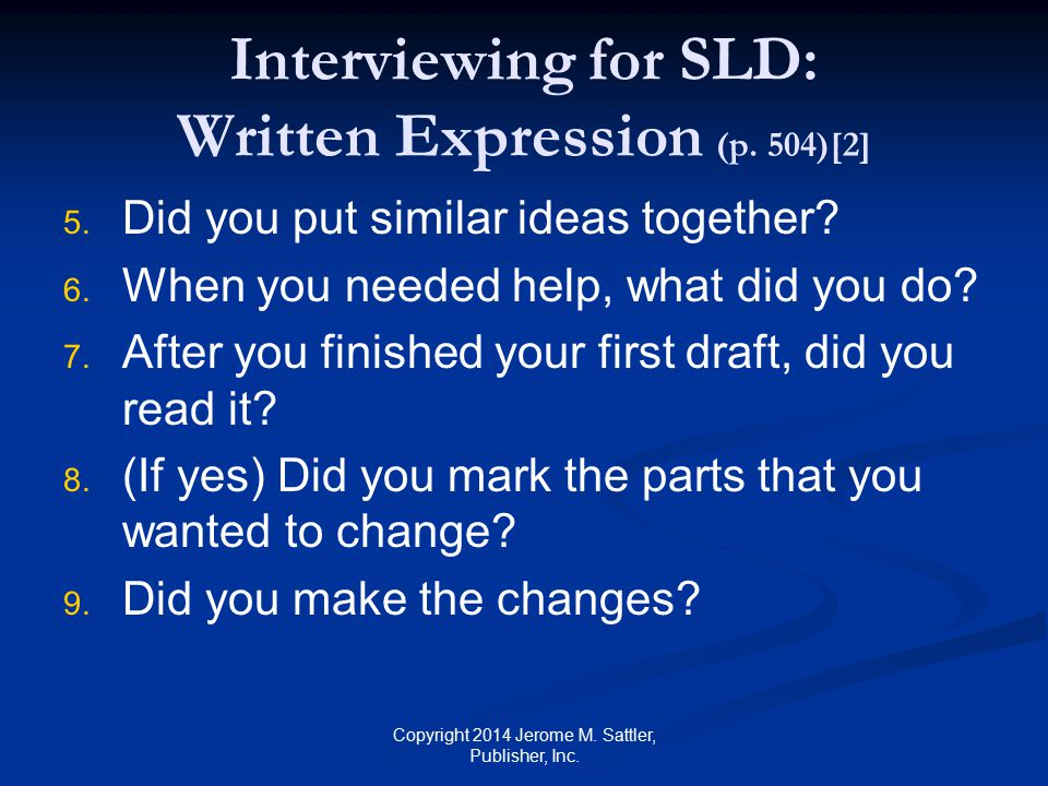 Interviewing for SLD: Written Expression (p. 504)[2]